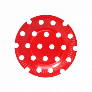 Platos Rojos Polka Dots