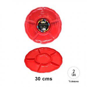 Bandejas Redondas Rojas x 2 u
