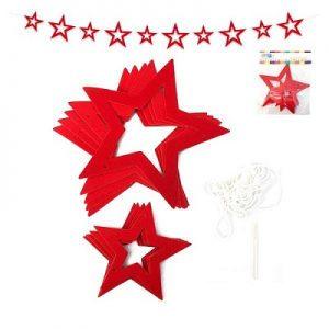 Deco Colgante 10 Estrellas Rojas x 1u